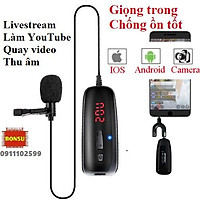 Micro cài áo không dây sóng UHF, cắm điện thoại livestream, thu âm, quay video, làm YouTube, Vlog từ xa