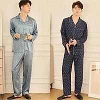 Đồ bộ Pijama dài tay nam, chất lụa satin cao cấp mềm mại, nhẹ và mát, không phải phi lụa nhé. Size S-XL
