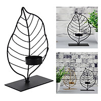 Leaf Candle Holder Candlestick Table Centerpiece Christmas Ornament Black