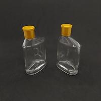 Combo 2 Chai thủy tinh DẸT 100ML kiểu SỐ 6 nắp nhựa vàng - Vỏ Chai 100ML, bình thủy tinh trong suốt