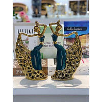 Decor tượng cặp cô gái sứ xanh mạ vàng trang trí phòng khách , bàn làm việc