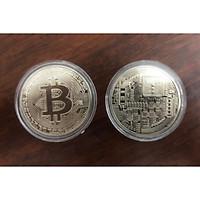 Đồng tiền ảo Bitcoin màu bạc combo 5 viên