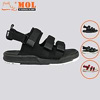 Giày sandal unisex nam nữ 3 quai ngang vải dù có quai hậu tháo rời hiệu MOL mang đi học du lịch MS1802B2