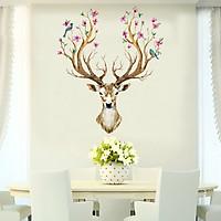 Decal dán tường hươu tài lộc nghệ thuật trang trí phòng spa, salon, cửa hàng, phòng ngủ sang trọng