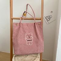 Túi tote bag vải nhung đeo vai nữ CHEN thêu hình gấu xinh đẹp dùng đi học đi chơi đựng laptop TX80
