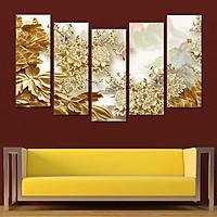 Tranh treo tường, tranh trang trí PP_ NT472 bộ 5 tấm ghép hoa mẫu đơn