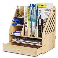 Kệ sách gỗ để bàn tặng kèm 1 gương mini và 1 hộp bút nhỏ