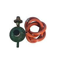 Bộ Van gas Ngang tay nắm đồng + dây cao su 3 lớp màu cam