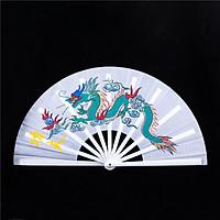 (Trắng) Quạt lụa rồng phượng nan nhựa Võ thuật Thái cực Kung Fu quạt cổ trang xếp cầm tay phong cách Trung Quốc
