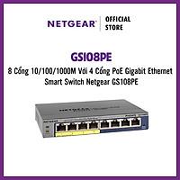 Bộ Chia Mạng Để Bàn 8 Cổng 10/100/1000M Với 4 Cổng PoE Gigabit Ethernet Smart Switch Netgear GS108PE - Hàng Chính Hãng