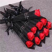 Hoa hồng sáp thơm quấn giấy thắt nơ sang trọng loại 1 bông