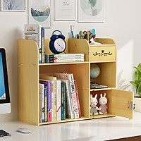 Kệ sách để bàn đa năng kệ hồ sơ trang trí bàn làm việc kệ tài liệu văn phòng KS023 bằng gỗ 3 màu tùy chọn- Tặng 1 móc khóa khung hình thời trang