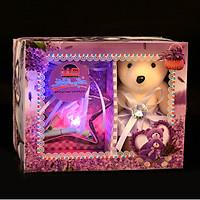 Hộp quà tặng gấu bông đáng yêu kèm lọ ước nguyện thủy tinh phát sáng trang trí nhà cửa - món quà ý nghĩa