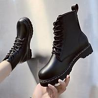 Giày boots nữ, giày bốt cột dây đế viền chỉ cổ lửng S022