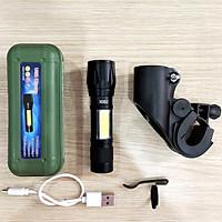 Combo đèn pin siêu sáng led mini sạc USB H352 nhỏ gọn + Bộ giá gắn đèn pin xe đạp - Hàng nhập khẩu