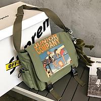 Túi Đeo Chéo Vải Canvas Junior Company Đi Học Thời Trang Hàn Quốc Chống Thấm Nước