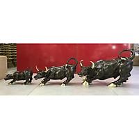 Bộ combo 3 con trâu Vip nâu dài - Decor trang trí để bàn (kt 25,5x40cm)