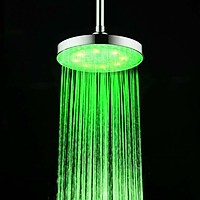 Temperature Sense Colorful Changing Shower Head Rainfall 8'' Round Shower Head