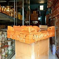 Bàn thờ treo tường gỗ xoan ngang 60 cm trạm rồng gồm 1bộ ke đế