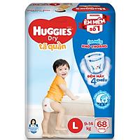 Tã Quần Huggies Dry Gói Cực Đại L68 (68 Miếng)