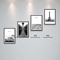 Bộ Khung Hình Kính Treo Tường 30x40cm Kèm Board Ảnh Tặng Kèm bộ ảnh như hình mẫu, đinh treo tranh - PGC234