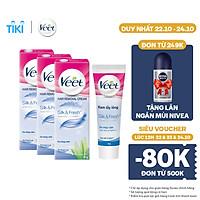 Bộ 3 Kem Tẩy Lông Cho Da Nhạy Cảm Veet Silk Fresh 25G