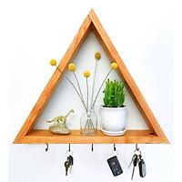 kệ treo tường gỗ thông hình tam giác có móc treo để đựng đồ dùng trong nhà xinh xinh kích thước 30x30x10 cm