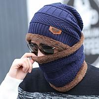 Mũ len lót lông kem khăn len lót lông chụp cổ mũ của đàn ông mùa đông Hàn Quốc sóng len mũ dày đan mũ mùa thu và đội mũ mùa đông MS57