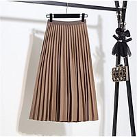 Chân váy nữ xếp ly dài MIDI - Váy nữ dài xếp ly dây khóa kéo