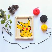 Set Thêu Nổi Thêu Xù Pikachu Dùng Len Đan Sợi Móc Dành Cho Người Mới Bắt Đầu