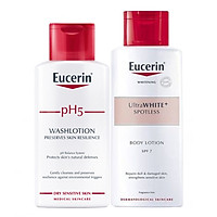 Bộ Sữa Tắm Cho Da Nhạy Cảm Eucerin pH 5 Washlotion Có Mùi (200ml) Và Sữa Dưỡng Thể Làm Sáng Da Eucerin White Therapy Body Lotion SPF 7 (250ml)