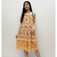 Váy hai dây lanh Thái chống nhăn, nhàu, chất liệu siêu mát