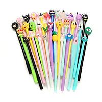 Set 20 bút bi nước hình thú ngộ nghĩnh - bút gel kèm túi zip