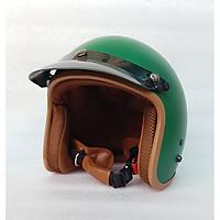 Mũ Bảo Hiểm 3/4 đầu Lót Nâu ( MÀU XANH RÊU) - Hàng CTY-Cam Kết Chất Lượng Giống Hình 100%