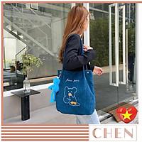 Túi tote bag vải nhung đeo vai style túi đi học đi chơi xinh đẹp TX93