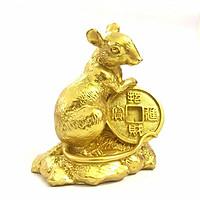 Tượng con Chuột vàng, chất liệu nhựa được phủ lớp màu vàng óng bắt mắt, dùng trưng bày trong nhà, những nơi phong thủy, cầu mong may mắn, tài lộc - TMT Collection - SP005164