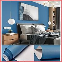 Giấy dán tường màu xanh dương đậm mặt nhám có keo sẵn khổ rộng 45cm, giấy decal dán tường một màu xanh dương -
