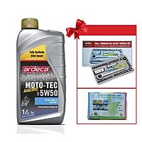 Dầu nhớt Ardeca MOTO TEC RACING 5W50 dùng cho xe số và xe phân khối lớn + Tặng kèm bộ dụng cụ vặn ốc vít và 1 bịch túi rác