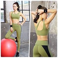 Bộ Đồ Tập Yoga Gym Nữ Cao Cấp, Form Chuẩn Tôn Dáng, Áo Croptop Sẵn Mút - HK09