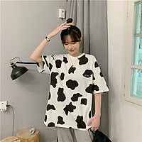 Áo Thun Unisex form rộng nam nữ, họa tiết bò sữa , hàng cao cấp
