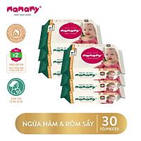 Combo 6 gói khăn ướt Mamamy 30 tờ/ gói có mùi kháng khuẩn, an toàn cho bé