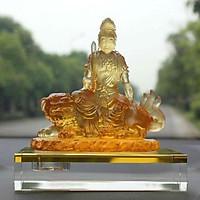 Tượng để ô tô Đức Phổ Hiền Vương Cưỡi Voi, chất liệu Lưu Ly, cao 12,5cm. - BH89