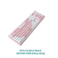 Bàn phím cơ Blue Switch AOYEAH K169 tích hợp nút vặn volume - hỗ trợ 12 chế độ led tùy chỉnh (trắng hồng) Hàng chính hãng