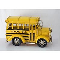 Mô hình xe buýt trường học/ Vintage Metal School Bus Handmade Decoration (0810E-1053)