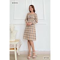 Đầm caro tay dài cổ U chun eo BEMINE MT1660DA