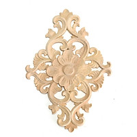 Unpainted Wood Carved Round Onlay Applique Furniture Home Decor 21×11cm