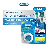 Combo Chăm Sóc Răng Miệng Toàn Diện (Vỉ 3 Bàn Chải Đánh Răng Oral-B 7 Tác Động (Mua 2 Tặng 1) + Chỉ Nha Khoa Oral-B Essential Mint (Hộp 50m)