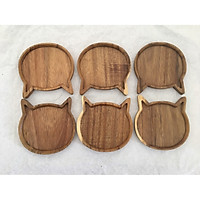 Bộ 6 miếng đế lót ly gỗ KEO hình Mèo màu gỗ tự nhiên - LL02