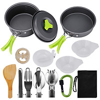 Camping Cookware, 15Pcs Backpacking Gear Hiking Outdoors Non Stick Camping Cookware Set 1-2 People Lightweight Compact - Silver