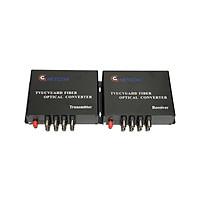 Bộ chuyển đổi video sang quang 8 kênh GNETCOM HL-8V-20T/R-720P (2 thiết bị,2 adapter) - Hàng Chính Hãng